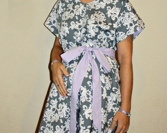 LINED Christiana Maternity Hospital Gown -Grey and White Damask- Lined in the Color of Your Choice- by Mommy Moxie