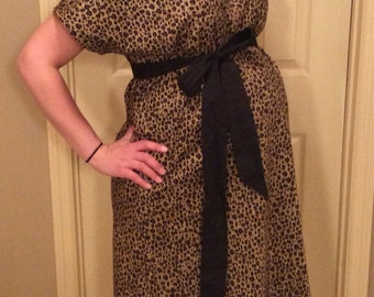 Clara Pearl - LINED Maternity Hospital Gown -For the Love of Leopard - Lined in the Color of Your Choice- by Mommy Moxie