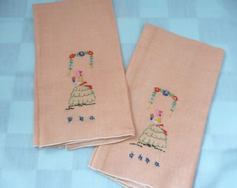 Set of Two Hand Embroidered Tea Towels with 'Southern Belle' Motif - Hand Towels