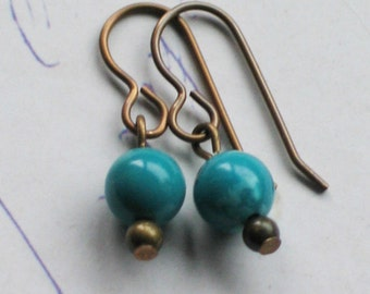 Turquoise Earrings / Brass / Small Dangle / Country