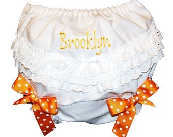Personalized Ruffle Butt Bloomers Orange Bows Baby Girl Bloomers, Diaper Cover, Panties