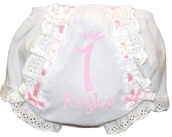 Personalized Birthday Lacy Baby Girl Diaper Cover, Bloomers Light Pink Embroidery & Ribbon