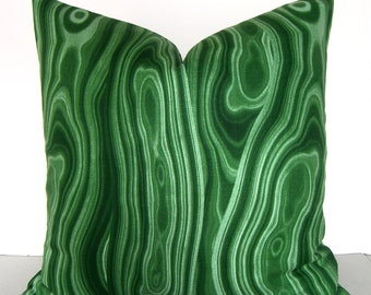 Both Sides - Emerald Green Malachite Stone Pillow Cover - Jewel Tones - Kelly Green