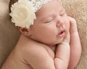 Ivory baby headband, infant headband, baby headband, ivory shabby flower with pearl on  elastic lace  headband, QUICK ship