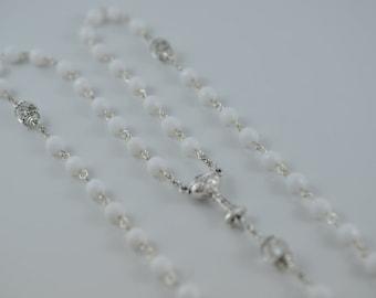 First Communion Rosary White Jade Beads