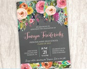 Graduation Announcement, Graduation Open House Invitation, Floral Grad Announcement, College High School - DiY Printable || Flourishing Feat