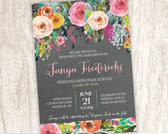 Graduation Announcement, Graduation Open House Invitation, Floral Grad Announcement, College High School - DiY Printable || Flourishing Feat