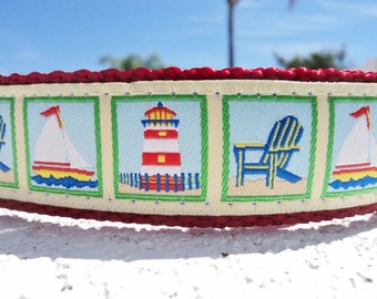 "Sale Dog Collar Beach Scenes 1"" wide in Side Release buckle or martingale collar style, incl dogs neck measurement"