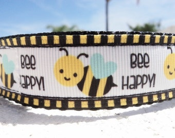 "Sale Dog Collar Bee Happy 1"" wide Quick Release or Martingale collar style adjustable"
