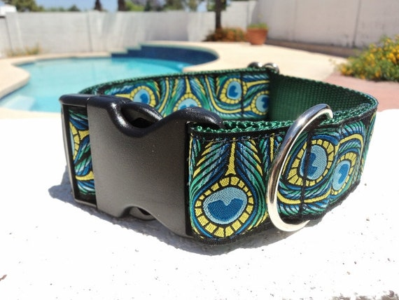"Large Dog Collar 1.5"" width Quick Release buckle or Martingale collar Peacock Art adjustable - see 3/4"" & 1"" link"