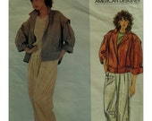80s Adri Cropped Pants Pattern, Loose Fitting Jacket, Yoke, Button Band, Rolled Sleeves, Collar, Vogue American Designer 2953 UNCUT Size 8