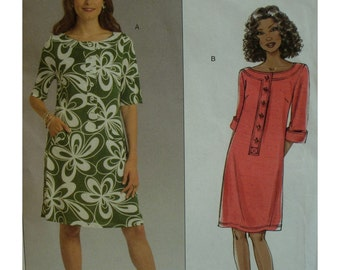 Chetta B Semi-Fitted Dress Pattern, Plus Size, Scoop Neck, Collar Band, Front Buttons, 3/4 Sleeves, Butterick No.5131 UNCUT Size 16 18 20 22