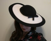 Picture Hat 1940s wide brim black and white felt film noir with bow by Bollman