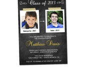PRINTABLE Chalkboard Graduation Party Invitations (Color of your choice) #301