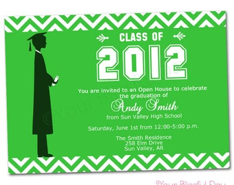 PRINTABLE Male Graduation Party Invitations (Color of your choice) #302