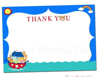 PRINTABLE Noah's Ark Baby Shower Thank You Cards #212