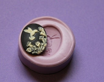 Hummingbird Cameo Mold Flower Silicone Molds Flexible Fondant Resin Polymer Clay Moulds