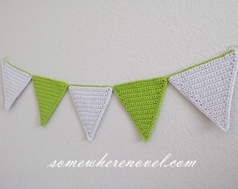 Triangle Garland Wall Hang Decor for Child's Room Green and Grey