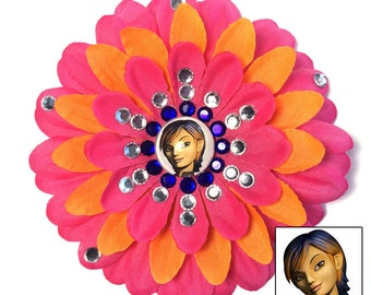 Sabine Wren Rebels Hot Pink and Orange Penny Blossom Rhinestone Flower Barrette