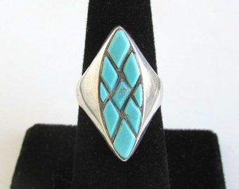 Blue Turquoise & Sterling Silver Ring - Vintage Southwestern, Size 6 1/2