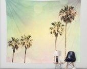 Wall Tapestries Palm Trees 2 fine art photography Beach House home decor pastel colors mint green pink yellow aqua blue California Modern