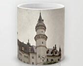 Art Coffee Cup Mug Neuschwanstein Castle photography home decor Java Lovers grey gray black Gothic photo texture Germany German Renaissance