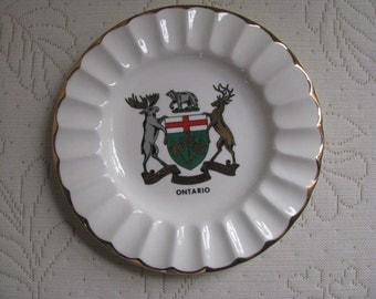 Vintage Souvenir Plate Ashtray from Ontario Canada