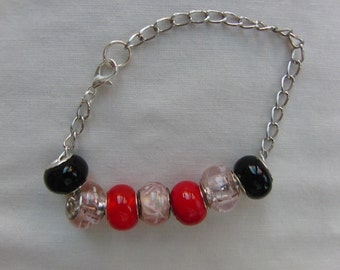 Pink Red and Black European Lampwork Bead Bracelet on a Silver Plated Chain, Jewellery, Accessories, Gift, Birthday, Christmas, Anniversary
