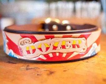 Personalized Leather Dog Collar - Sun Rays and Japanese Waves - Custom Dog Collar - Handmade Leather Dog Collar - Tooled Leather - Carved