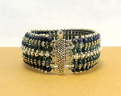 Silver Blue Teal Textured Cuff