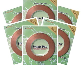 Studio Pro Copper Foil for Stained Glass Copper Back - 6 Rolls