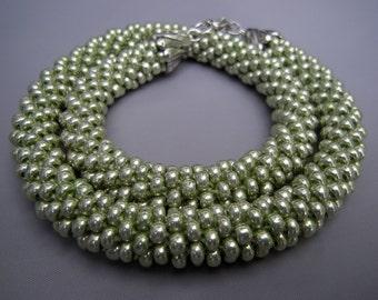 Crocheted Beaded Apple Green Necklace/ Crocheted Beaded Apple Green Choker