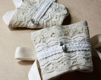 Fine Linen and Lace Bridal Handcuffs with French Cotton Ribbon