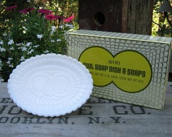 Avon Owl Soap Dish in Original Box - White Milk Glass - Trinket Dish - Oak Hill Vintage