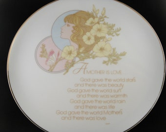 A Mother is Love poem on plate Portraits in Poetry 1974