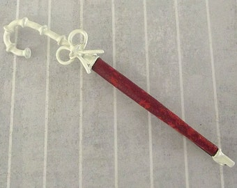 REPAIRED Vintage Red Umbrella Pin, Closed Parasol Brooch, Leather White Paint, Spring Jewelry