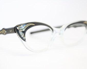 Unused Black Crystal Rhinestone Cat Eye Glasses Cateye Frames Vintage Eyewear 1960s Eyeglasses New Old Stock