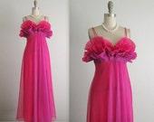 50's Vanity Far Nightgown // Vintage 1950's Pink & Violet Ruffled Nylon Goddess Slip Gown 34 S