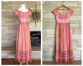 Silk Chiffon Cap Sleeve Evening Gown * Neon Pink Watercolor Stripes * 1960s Empire Waist Dress * Womens Size Small