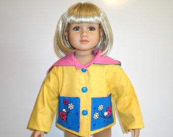 Jacket Coat Yellow Ladybugs Hood Pockets Turquoise Blue fits 23 inch doll