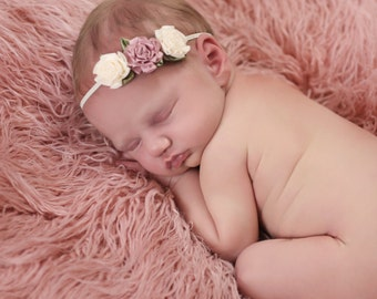 Mauve Pink and Ivory Half Flower Crown - Newborn Small Flower Headband - Baby Flower Headband - Halo Headband