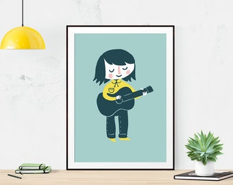 Guitar Girl - Art Illustration Print