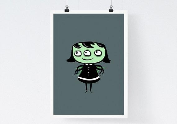 Octogirl-  Giclee art print, Illustration Print