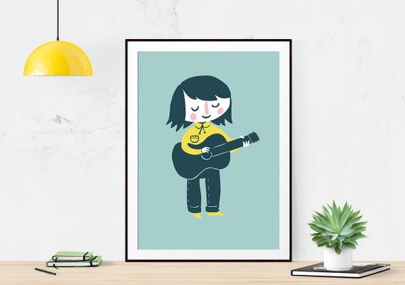 Guitar Girl - Art Illustration Print