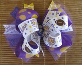 2681 LSU tigers double boutique hair bow
