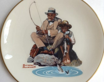 """Norman Rockwell's """"Catching the Big One"""" Memorial Plate (Gotham Fine China 1978)"""