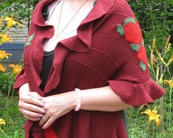 """Machine knitting shawl """"Pomegranate fruits"""""""