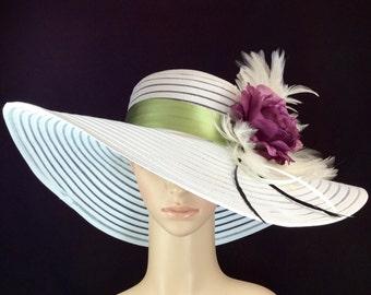 White Purple Green Kentucky Derby Hat , Big Purple Rose Wide Brim Dress Hat ,Formal Dress Hat Wedding Tea Party Ascot  Horse Race