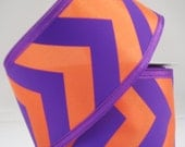 "Orange Purple Chevron 2.5"" Ribbon Q321840-11, Deco Mesh Supplies"