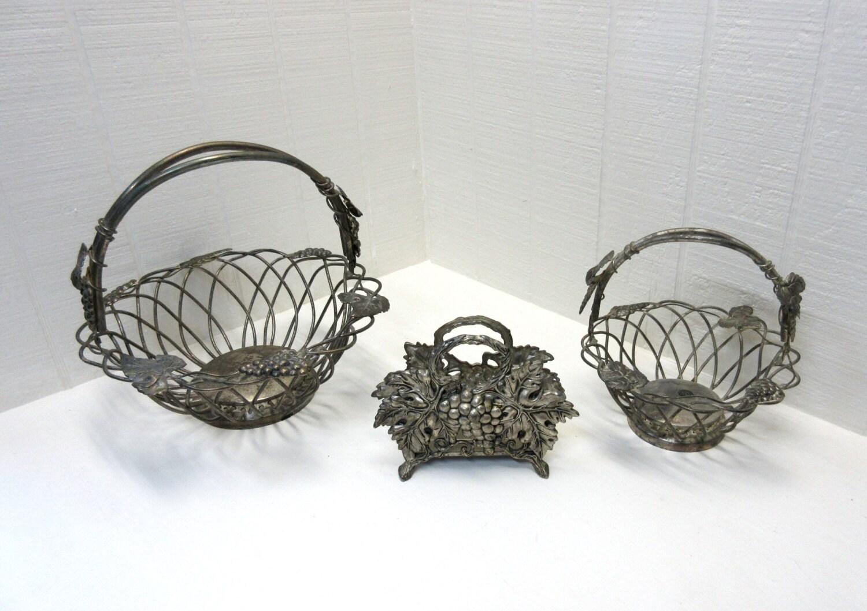 Godinger Silver Art Co Basket : Vintage godinger silver art wire baskets napkin holder truss